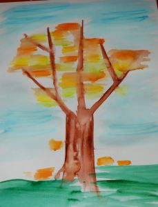 Autumn tree using felt tip pens and water