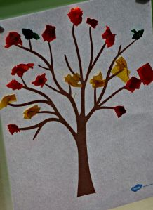 autumn tree with scrunched up tissue paper