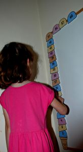 counting in 3's ice-cream on notice board