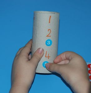 Counting with toilet rolls and stickers