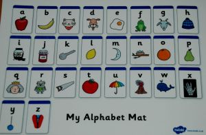 Free Twinkl alphabet mat included in the letter and sound folder found on ofamilyblog