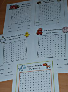 Free word searches from Activity village