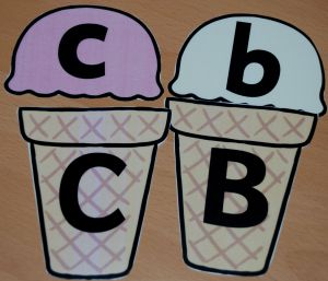 Ice cream Upper case and lower case activity FREE from Twinkl included in letter and sound folder on ofamilyblog