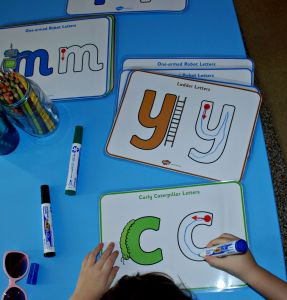 Letter formation posters laminated and using white board marker pens