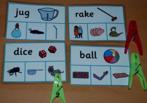Rhyming word peg activity cards from the Twinkl website