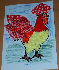 Rooster mosaic using cupcake cases and tissue paper on ofamilyblog