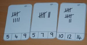 Tally mark peg cards made using the blank peg card template from Twinkl