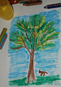 Tree drawing using a Twinkl tree template and Stabilo water colour pencils on ofamilyblog