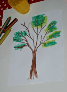 Using the tree template for a water colour drawing using the Stabilo Woody pencils on ofamilyblog