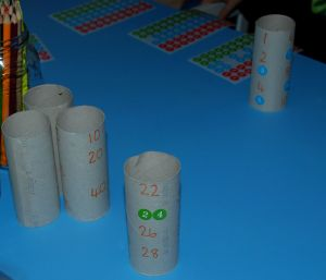 Using toilet rolls and stickers to practice skip counting