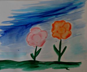 water colour effect flower picture made using marker pens and water
