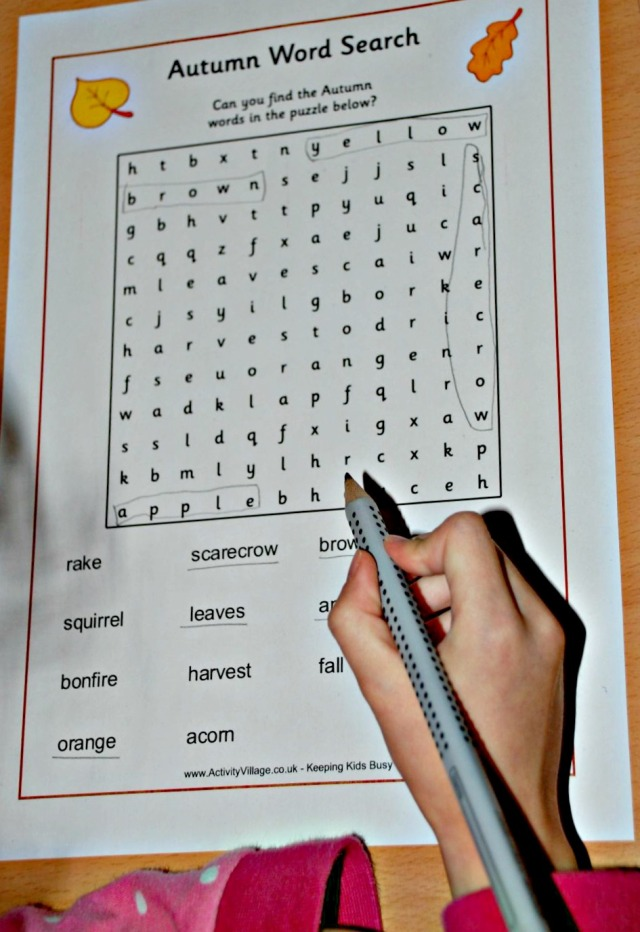 Activity Village autumn word search