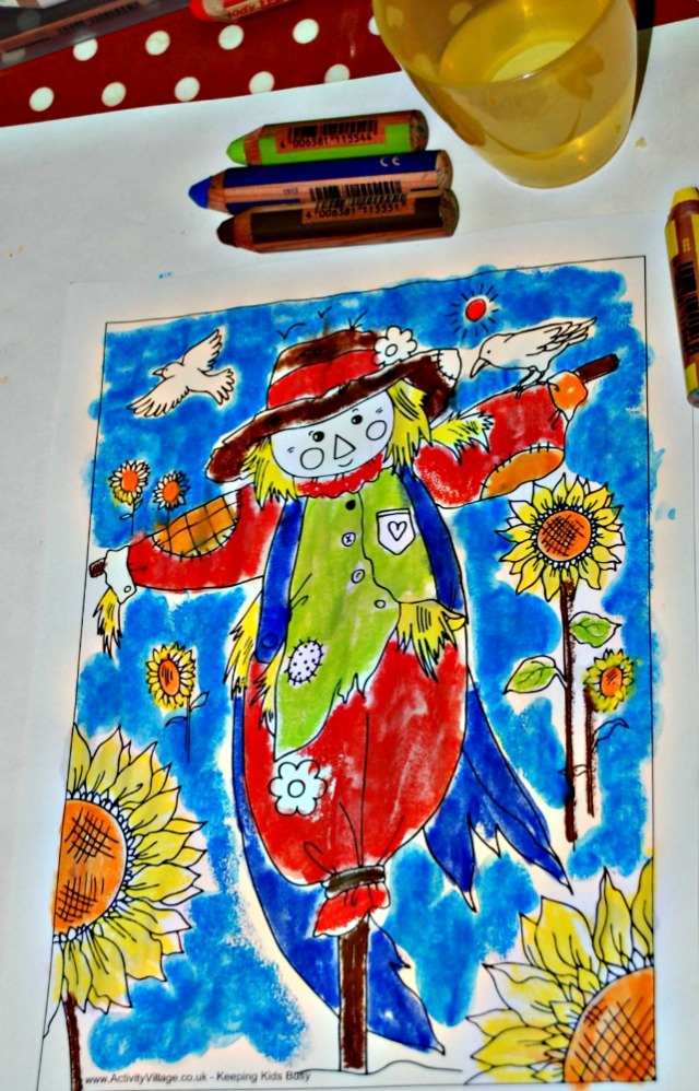 Activity Village scareccrow picture completed using STABILO 3-in-1's dipped into water