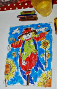 Activity village scarecrow colouring page using STABILO woody pencils with water