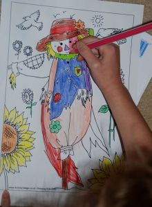 Activity village scarecrow colouring page