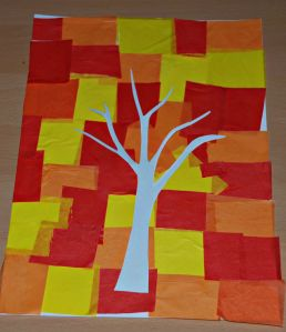 Autumn tree using tissue paper for the background and a basic tree template on ofamilyblog