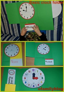 Basic clock lapbook or folder idea on ofamilyblog