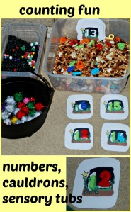 Counting fun with numbers, cauldrons and sensory tubs