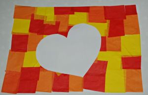 Heart on autumn tissue paper colour background