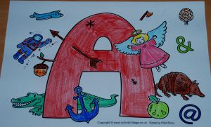 I spy alphabet capital A page from activity village as coloured in on ofamilyblog