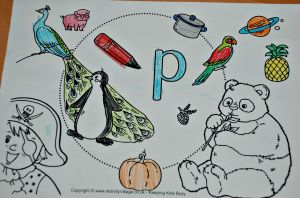 I spy alphabet lower case p page from activity village as coloured in on ofamilyblog