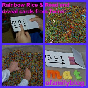 Rainbow Rice sensory tub with the Read and reveal cards from Twinkl found on ofamilyblog