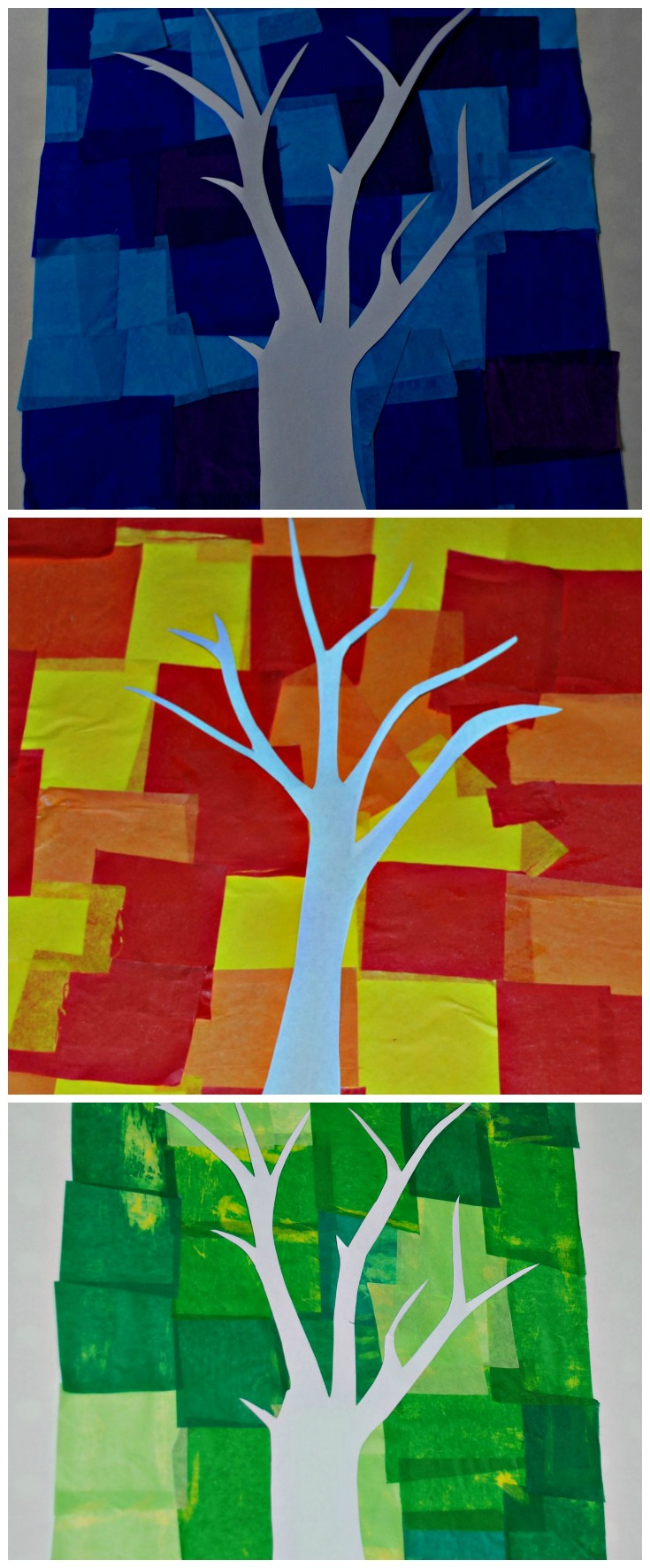 Tissue Paper Pictures With Trees Ofamily Learning Together