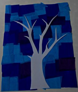 Tree template on a blue tissue paper patchword background