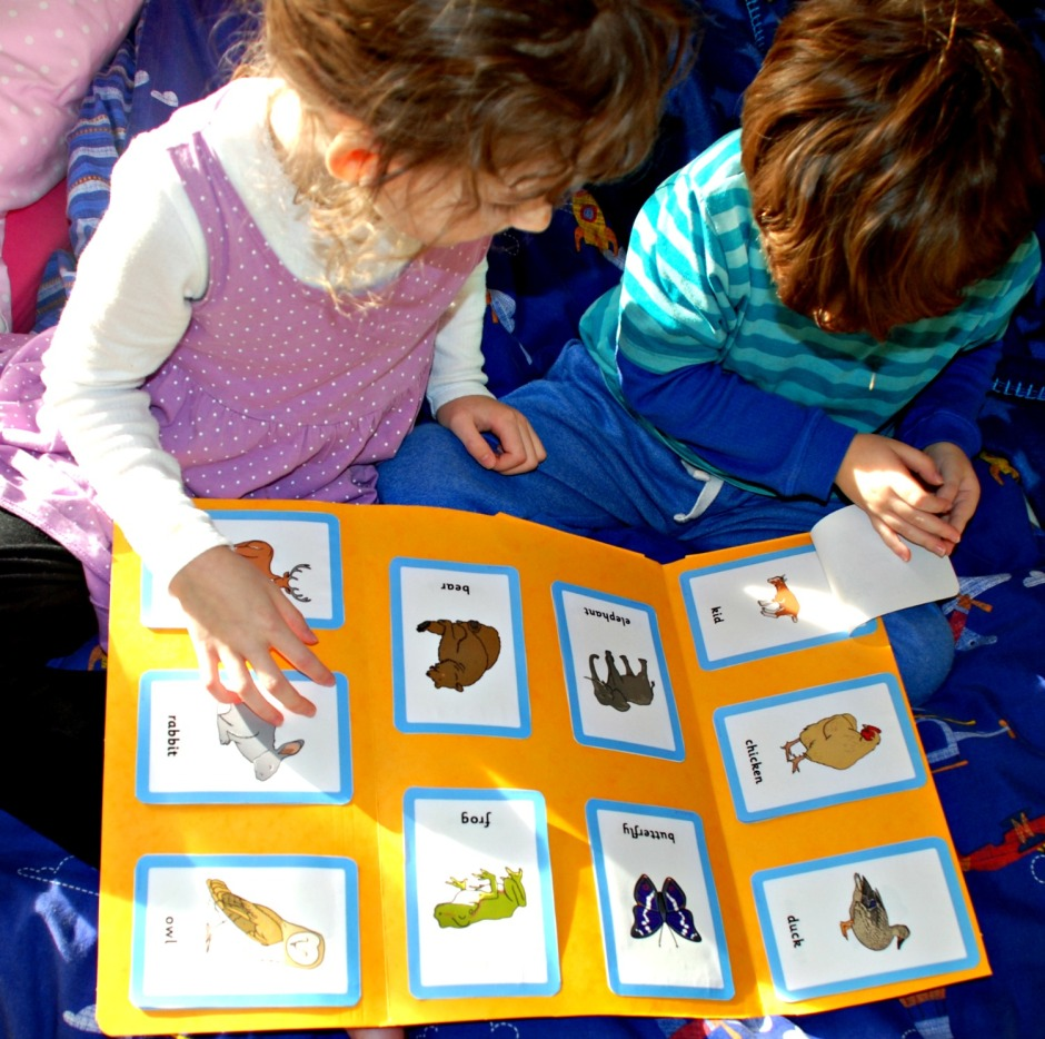 Animals and their young folder made using Free to download matching cards from Twinkl Resources