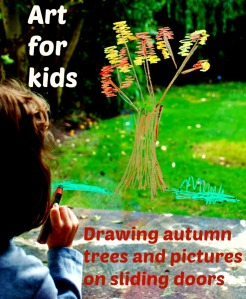 Autumn Art for children. Drawing autumn trees and other pictures onto the sliding doors