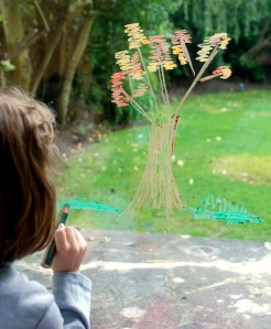 Drawing the autumn tree on the sliding door