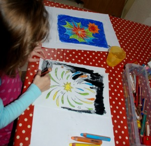 Firework pictures from Twinkl colouring in using STABILO pencils