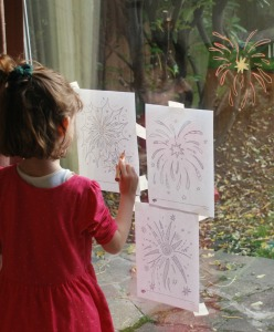 Fireworks on the sliding door - tracing over the Twinkl colouring pages using STABILO pencils
