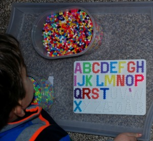 Hama Bead letter pegboard - making our Upper case letters