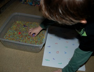 Hama Bead letter search in rainbow rice