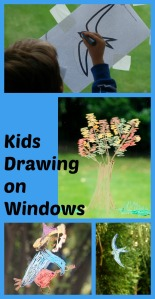 Kids drawing on windows and sliding doors. Fun art activity. Can use colouring pages to trace over or just draw freehand
