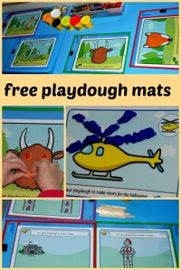 Links for Free playdough mats for young children, includes gruffalo, transport theme, knights and castles, numbered playdough mats
