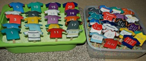 Rugby Tops - matching th dots to the numbers in the green rice tub