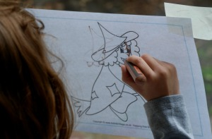 Tracing over the witch picture