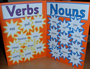 Verb and noun folder using the stars from Twinkl