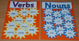 Verbs and Nouns stars from twinkl