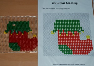 Christmas stocking Hama bead pattern from Activity village made into a Chritsmas tree decoration