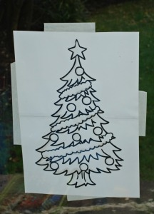 Christmas tree outline from Twinkl
