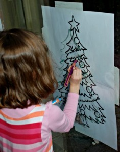 Christmas tree tracing over the Twinkl template using STABILO pencils