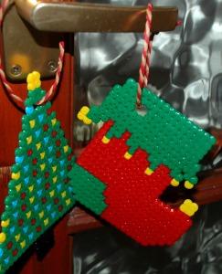 Hama Bead Christmas tree decorations on ofamilyblog