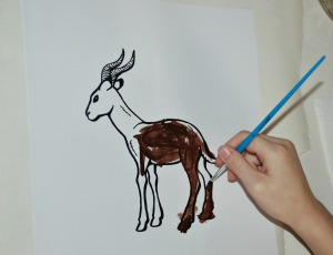 Painting the Springbok colouring page from activity village