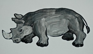 Rhino colouring page using paint to try and practice shadows
