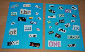 Spot the word folding - using a 4 card and words cut out of old magazines