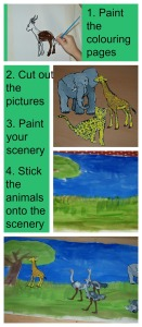 Step by step kids making a large african animal painting