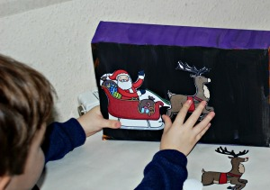 Christmas boxes being made on ofamilyblog